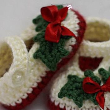 Handmade Crocheted Baby Girl Holiday Holly Shoes