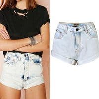 Light Blue High Waist Pocket Design Denim Shorts