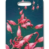 Bright Pink Painted Flamingos Luggage Tag Single Side All Over Print