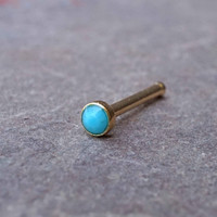 2mm Turquoise Gold Nose Bone Gold Nose Stud Nose Ring