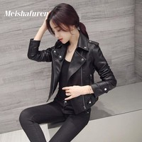 Donna 2017 New Women Faux Leather Jacket Slim Long Sleeve Faux PU Leather Zipper Coat Lady Sexy Black Motorcycle Jacket W47S