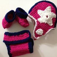 Dallas Cowboys NFL Football Crochet Cowgirl Baby Beanie and Diaper Cover Set