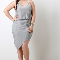 Rib Knit Asymmetrical Hem Sleeveless Dress