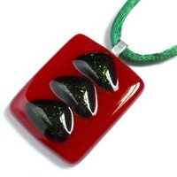 Christmas Tree Pendant Necklace, Red and Green Rectangle Fused Glass