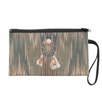 Native Cod Grey Feather Wristlet Purse