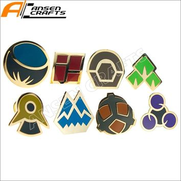 Complete set of 8   League Gym Leader Badges Lapel Pins from  Series 2Kawaii Pokemon go  AT_89_9
