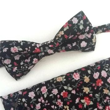 Black Floral Bow Tie and Pocket Square Set, Wedding Bow Tie, Man Bow Tie, Mens Bow Tie
