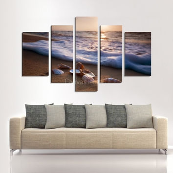 CANVAS ART  - Large Wall Art Sea Shells on Beach 5 Panels Stretched on Deep 3cm Frame