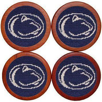 Penn State Needlepoint Coasters in Navy by Smathers & Branson