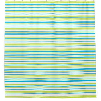 Turquoise blue lime green stripes geometric design shower curtain