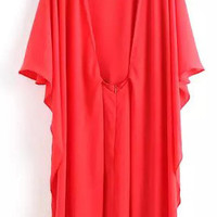 Red Butterfly Sleeve Cape Mini Dress