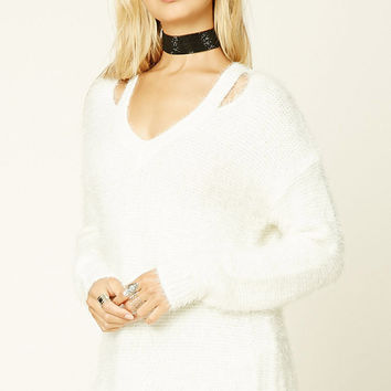 Contemporary Fuzzy Knit Sweater