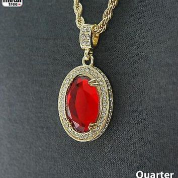 "Jewelry Kay style Men's Iced Out Oval Red Ruby Pendant 24"" Rope Chain Pendant Necklace HC 1204 G"