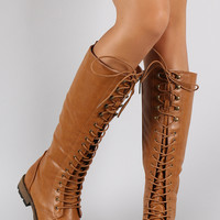 Lace Up Flat Knee High Combat Boot