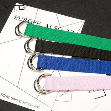 DCCKFS2 YIFEI Harajuku zipper all-match ultra long canvas belt lovers brief solid color long belt 110cm long D ring buckle belt