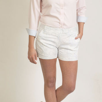 Sailing Short White with Chart Print