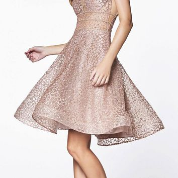 Cinderella Divine CJ256S Short Champagne/Gold A-line Homecoming Dress V-Neck and Back