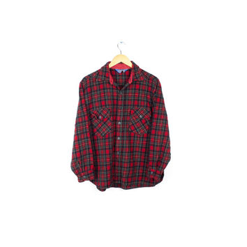 vtg Pendleton wool tartan plaid shirt / red & green soft flannel / 90s grunge vintage / medium