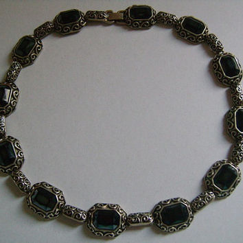 Victorian Style Revival Silver Plated W/Bezel Set Emerald Cut Black Onyx Cabochon/Glass Lovely Detailed Classic Ornate Design Panel Necklace