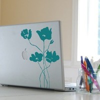 Laptop Vinyl Decal Poppy Field Graphic 40001 by byrdiegraphics