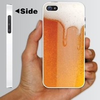 """Amazon.com: Alcohol Themed \""""Cold Beer with Foamy Head\"""" Design - White Protective iPhone 5 Hard Case: Cell Phones & Accessories"""