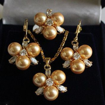 Women's Wedding Rare 8mm Yellow South Sea Shell Pearl Earrings Ring & Necklace Pendant Jewel Set   real silver -jewelry