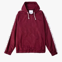 Satin Track Cross Stripe Pullover Hoodie in Maroon