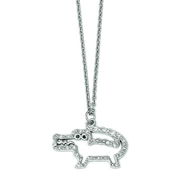 Cheryl M Sterling Silver Black and White CZ Alligator Necklace QCM1201