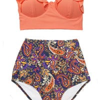 Old Rose Midkini Top and Indian Arabic Arab Art Pattern High Waisted Waist Highwaist Shorts Bottom Swimsuit Swimwear Bikini Bathing suit S M