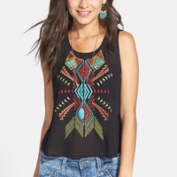 Lush Embroidered Front Sheer Tank (Juniors)