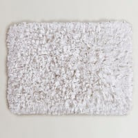 White Jersey Shag Bath Mat - World Market