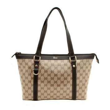 Gucci Crystal Abbey Beige Brown Logo Zipper Tote Bag Handbag