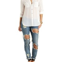 High-Low Button-Up Chiffon Top by Charlotte Russe