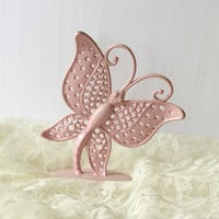 Pink Butterfly Earring Holder , Pierced Earring Metal Holder , Vintage Earring Tree , Jewelry Stand