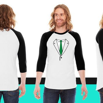 Suit with Green Tie American Apparel Unisex 3/4 Sleeve T-Shirt