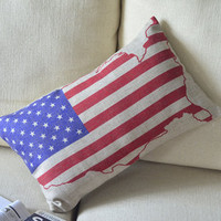 Flag and Map Print Decorative Pillow B [031] : Cozyhere