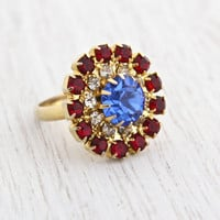 Vintage Red, White & Blue Rhinestone Ring - 1960s Gold Tone Adjustable Cluster Costume Jewelry / Patriotic Rounds