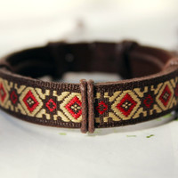 Autumn Brown Leather Cuff with Pattern Cotton Cloth Bracelet C-22
