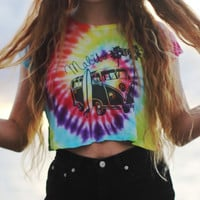 Tie Dye Crop Top VW Bus Palm Trees Surfing California Malibu Crop Top Brandy Melville Tumblr Hipster
