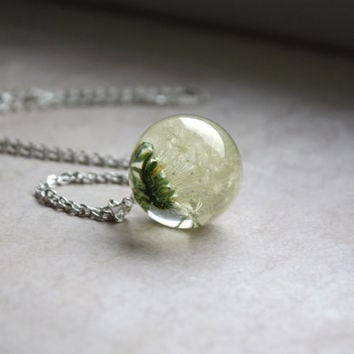 Real Dandelion Seed Head Necklace. Unique Resin Sphere Orb Globe Pendant 25 mm. Nature. Whole Fluffy Dandelion Head.