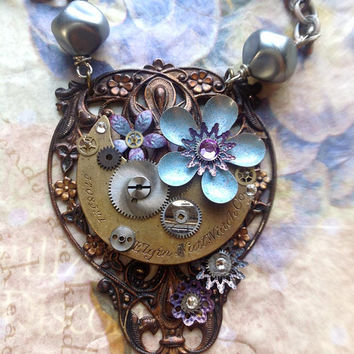 Steampunk Flower Necklace Sky Blue and Lavender by bionicunicorn