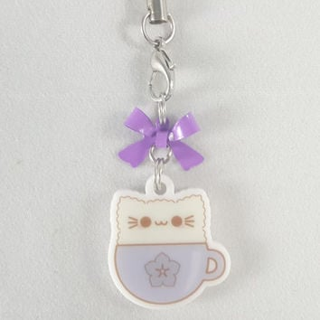 Cat, kitty, latte, food, dessert, phone charm, cute, kawaii, anime, zipper charm, keychain, acrylic charm, purple