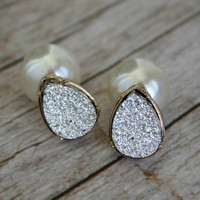 Silver Druzy Drop & Peal Back Earring