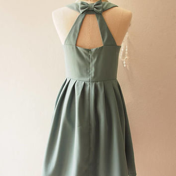 LOVE POTION - Sage Green Dress Cocktail Party Dress Green Backless Dress Sage Bridesmaid Dress Sundress Rustic Wedding Dress no#198