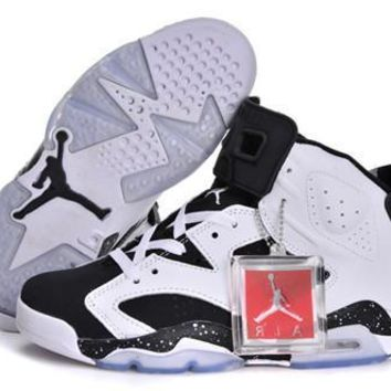 Hot Nike Air Jordan 6 Retro Women Shoes Oreo White Black