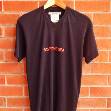 Vintage Katharine Hamnett London Cut and sewn Made in Japan Save The Sea Summer T-Shirt