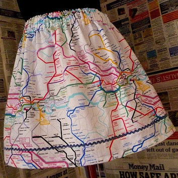London Fashion. Womens London Tube Map Skirt, Mini Skirt, Never get Lost In London Again. Fun Original skirts From Rooby