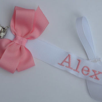 Monogram Pacifier Clip Baby Girl Personalized Soothie Clip Nuk Paci Baby Girl Gift