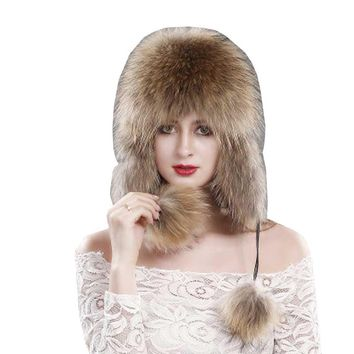 2018 New Women Winter Fur Hat Genuine Fox Fur Bomber Hats Russian Beanie Warm Cap Fashion Female Earflaps Skullies Beanies Caps