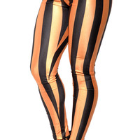 BadAssLeggings Women's Gold And Black Stripes Leggings Medium